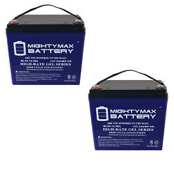 Mighty Max 2 Pack - 12v 55ah Gel Battery For Wheel Horse Raider 12 Tractor