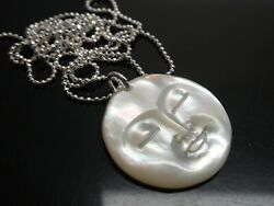 Vintage Moon Face Carved Mother Of Pearl Shell 925 Pendant Necklace Sp 24 Chain