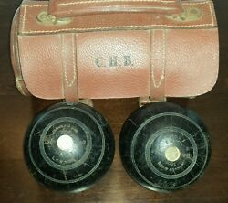 Lawn Bowling Antique Jaques And Sons London Standard Bowls In Leather Bag