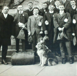 1918 Photograph Collie Dog Baggage Businessmen Red Cross Bags Stained Glass Wind $16.00