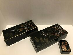 Vintage Japanese Wooden Lacquer Box Set Of Three