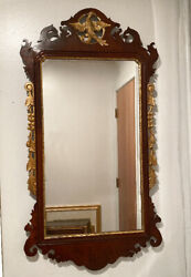 Vintage Chippendale Style Wall Mirror Mahogany Carved Exotic Bird Crest C1900.