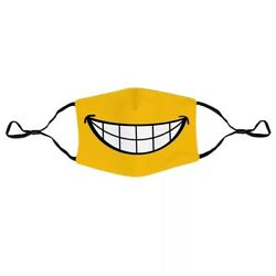 Yellow Mouth Smile Graphic Print Face Mask Women Men Kids Cute Funny Teeth Mask $14.99