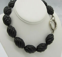 And Co Huge Vintage 1985 Sterling Silver Carved Black Onyx Bead Necklace