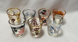 Vintage1960's Collectibles Shot Glass Jigger Shooter Lot Of 7 Glasses