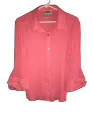 EK Designs Womens Blouse Large Pink Collared Long Sleeve Button Up Business $6.99