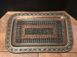 Antique Vintage Large Persian Copper And Silver Tone Rectangular Tray 25x17