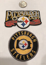 """2-pittsburgh Steelers Embroidered Iron On Patches 3"""" Round And 4""""x 2 1/2"""""""