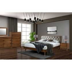 New Spec 5pc Rosa Queen Bedroom Set In Walnut And Stone