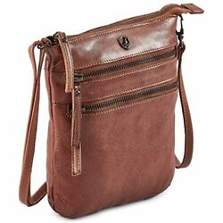 Small Triple Zip Real Leather Women#x27;s Crossbody Premium Vintage Crossover Sling $43.01