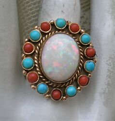 Native American Navajo Elias 14k Yellow Gold Opal Turquoise Red Coral Ring 14.5g