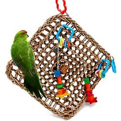 Bird Foraging Toys Parrot Seagrass Activity Wall Birds For Cockatiel African Pet