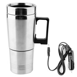 Stainless Steel Car Electric Kettle Coffee Tea Thermos Water Heating Cup 12v