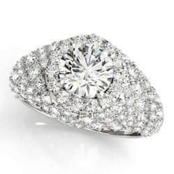 2.00 Ct Round Cut Real Diamond Engagement Ring Solid 14k White Gold Size 5 6 7 8
