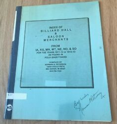 Index Of Billiard Hall And Saloon Merchants By Norman Peterson - Printed Signed