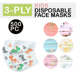 Kid 3 Ply Disposable Mask Face Cover Ear Loop Protective 500 Pack Toddler Child