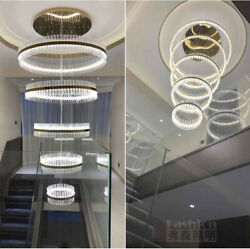 TOP LED crystal lamp ring chandelier modern stair big living room hall lighting
