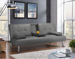 Futon Sofa Bed Couch Dorm Reclining Daybed Sleeper Gray Cup Holders Leather Faux