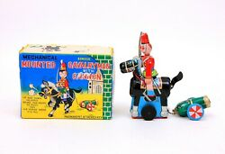 Vintage Tps Sonsco Japan Mounted Cavalryman And Cannon Wind-up Tin Toy W/ Box