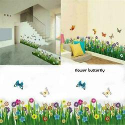 Removable Butterfly Flower Grass Wall Stickers Border Decal Home Window Decor