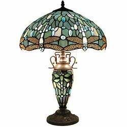 Lamp 24 Inch Tall 3 Light Pull Chain Sea Blue Stained Glass Dragonfly...