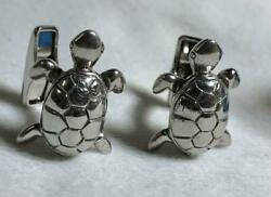 Dunhill Cufflinks Sv925 Turtle Motif Accessory Mens Genuine Lost Box Used Good