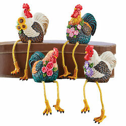 Hand Painted Rooster Shelf Sitter Figurines Set