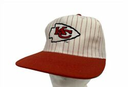 Vintage Kansas City Chiefs Football Cap White Red Striped Snapback Hat Os New