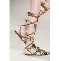 Women Cross Strappy Flat Open Toe Slingback Color Stitching Runway Shoes Us Size