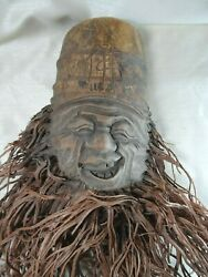 Bt Old Laughing Face With Hat And Whiskers Carved Bamboo Root
