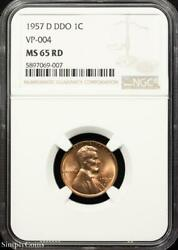 1957-d Ddo Vp-004 Lincoln Wheat Penny Ngc Ms65 Rd Red P7-069-007