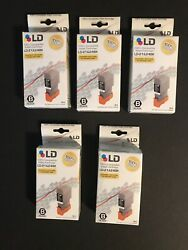 Lot Of 5 Ld-21 And 24bk Black Inkjet Cartridge To Canon Bci-21 And Bci-24bk