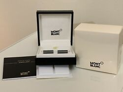Mont Blanc Ionic Black Pvd And Grey Glass Bar Cufflinks Rp £235 With Gift Bag