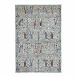6and039x9and039 Gray With Pop Of Color Willow And Cypress Tree Design Hand Made Rug G54817
