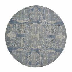 8'1x8'1 Round Blue Wool And Pure Silk Jewellery Design Hand Knotted Rug G59000
