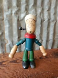 1930s Popeye The Sailor Man Wood Figure Figural Toy Wooden Cartoon Spinach Boat