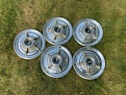Vintage Set Of 5 1960s 70s Plymouth 14 Hubcaps Barracuda Road Runner Mopar Fury