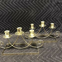 Pair Of Retro Candlestick Holders Gold Color Sturdy And In Excellent Condition
