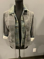 New With Tags 228 Amici By Baci Womenandrsquos Gray Plaid Jean Jacket Size Small S