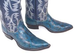 Justin Boa Snakeskin Cowboy Boots Mns 9d Unigue Blue Color Pointy X-toes Vintage