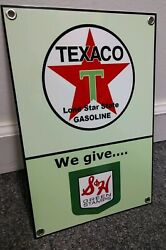 Texaco S And H Green Stamps Motor Oil Gas Gasoline Sign . Free Ship On Any 8 Signs