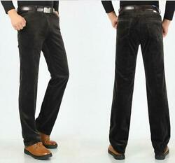 Mens Corduroy Winter Straight Trousers Business Slacks Pants Casual Stretch New
