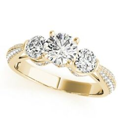 1.28 Ct Real Diamond Engagement Rings 14k Solid Yellow Gold Women's Size 5 6 7