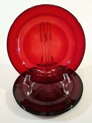 Four Beautiful France Classique Ruby Red Rimmed Salad Plates
