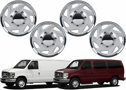 4 Pack 16 Replacement Chrome Hub Caps For 1995-2014 Ford E150 E250 New Usa