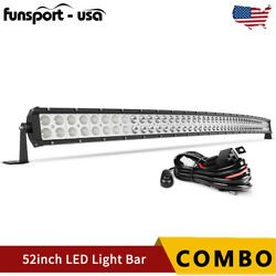 Curved 52inch 700w Led Light Bar Flood Spot Combo Driving Truck Rzr Suv 4wd 54''
