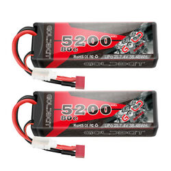 2x 80c 5200mah 7.4v Rc 2s Lipo Battery Deans Plug Hard Case For Car Truck Buggy