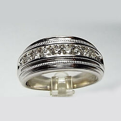 1.10 Carat Real Diamond Menand039s Engagement Bands 14k White Gold Size L M N O P Q