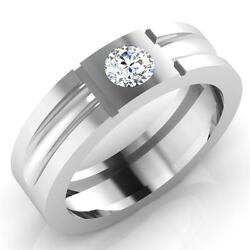 0.32 Carat Real Diamond Mens Engagement Rings 14k White Gold Bands Size 10 11 12