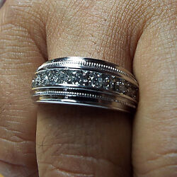 1.10 Carat Real Diamond Mens Engagement Band Solid 14k White Gold Size R S T U V
